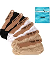 EPLAZA 6 Pairs Silicone Grip Women Lace No Show Socks Non-Skid + 1 Wash Bag