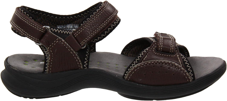 Amazon.com   CLARKS Women's Wave Current, Brown Leather, 5 M US   Sport  Sandals & Slides