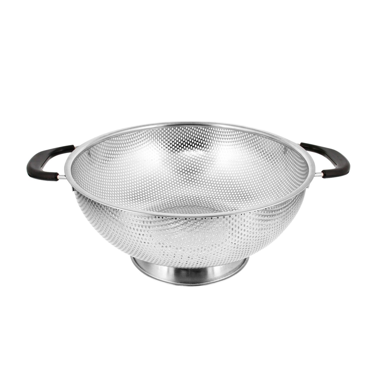 U.S. Kitchen Supply 5 Quart 11'' Stainless Steel Micro Perforated Colander Strainer Basket with Coated Heat Resistant Wide Handles - Bowl to Strain, Drain, Rinse, Steam or Cook Vegetables & Pasta