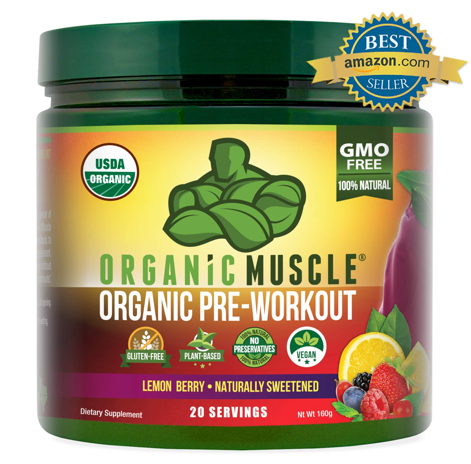 ORGANIC MUSCLE #1 Rated Organic Pre Workout Powder-Natural Vegan Keto Pre-Workout & Organic Energy Supplement for Men & Women- Non-GMO, Paleo, Gluten Free, Plant Based -Lemon Berry -160g by Organic Muscle