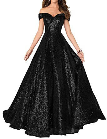 8c9918fb Women's Long Off Shoulder Prom Dress Sparkly Sequins Evening Party Ball  Gown 140 Black US2