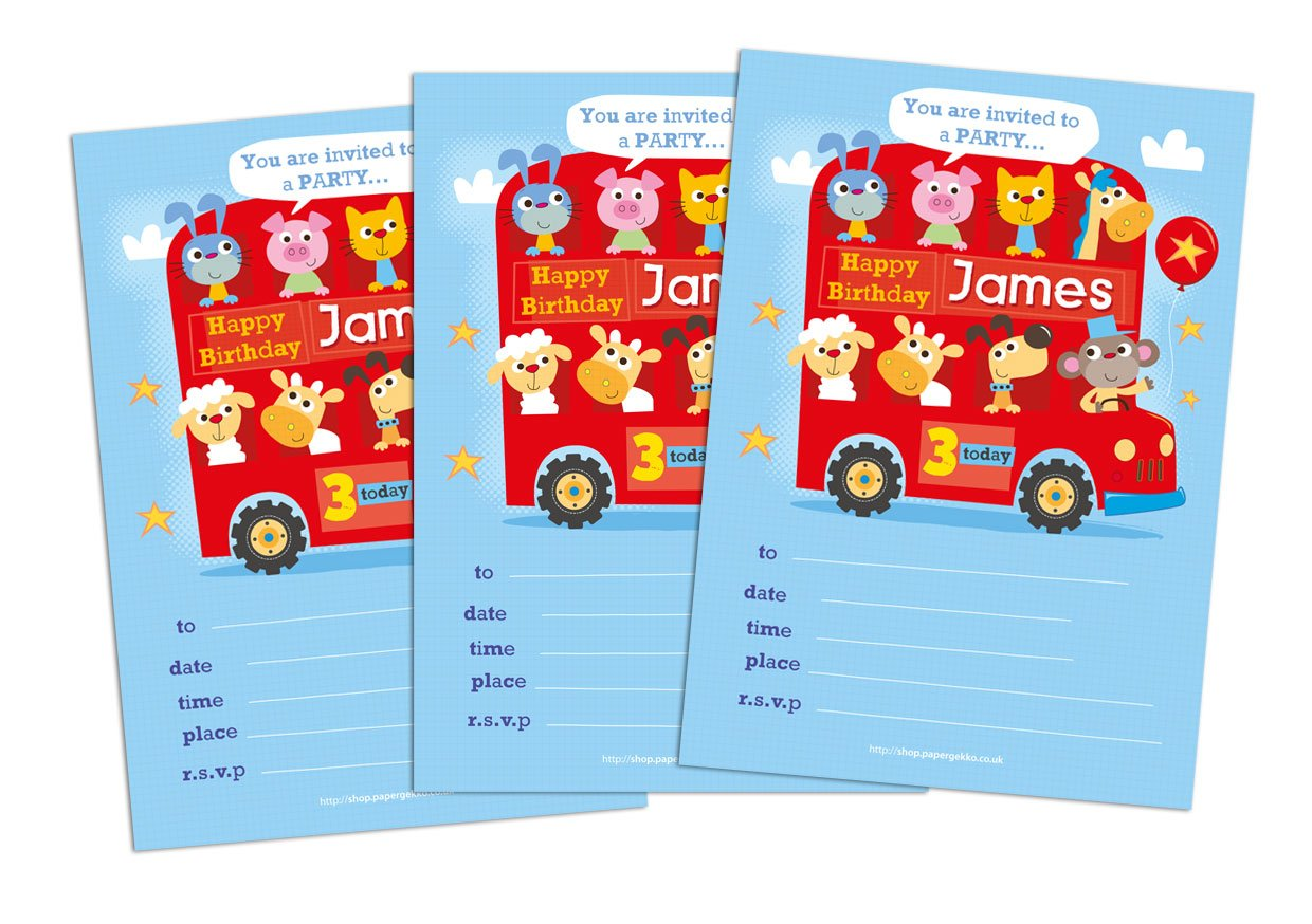 20 Children\'s Personalised Birthday Party Invitations Animals Bus ...