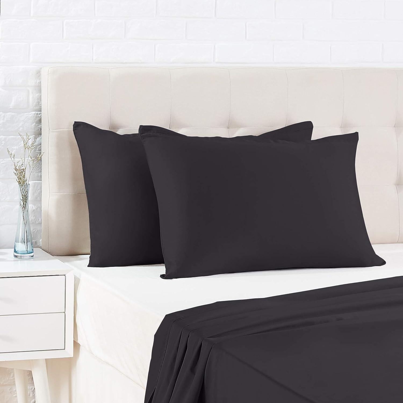 AmazonBasics - Funda de almohada de satén - 40 x 80 cm x 2, Antracita
