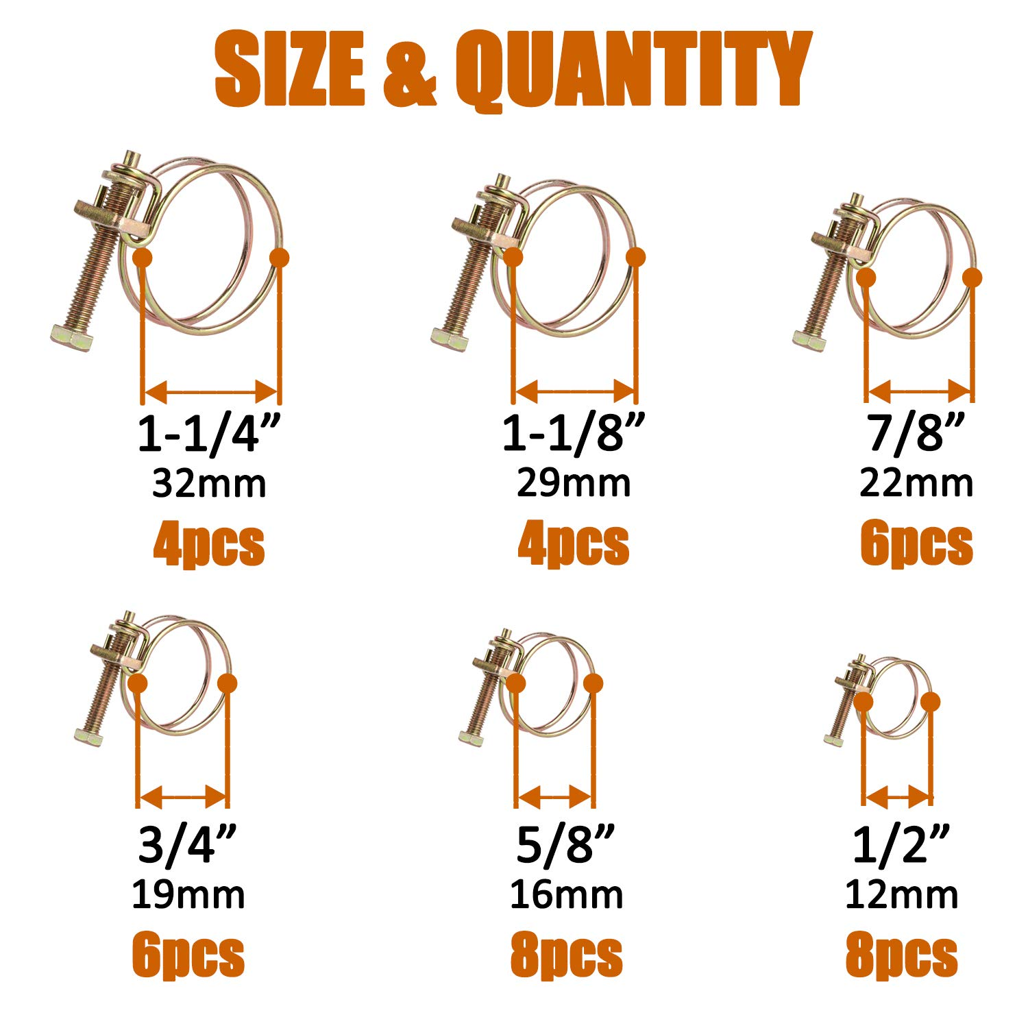 ISPINNER 36pcs 6 Sizes Adjustable Steel Double Wire Hose Clamps Assortment Kit 1//2 5//8 3//4 7//8 1-1//8 1-1//4