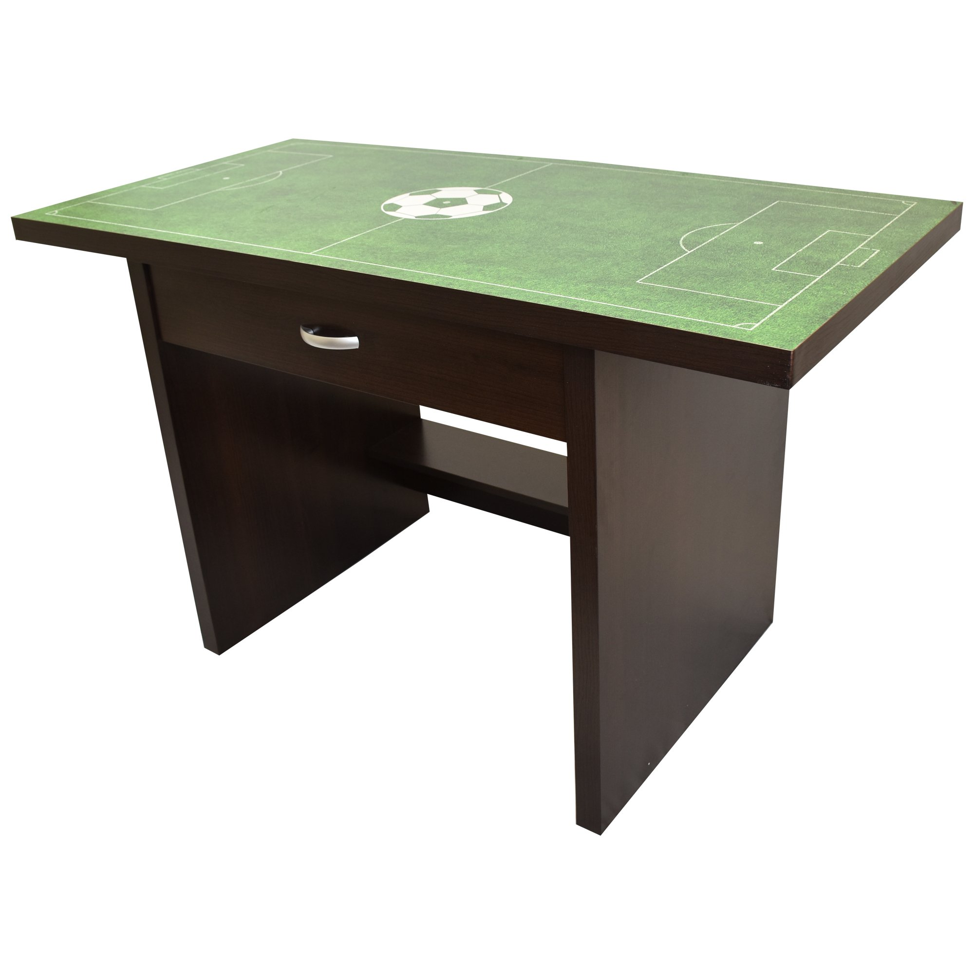 Kids Soccer Sports Fan Desk, Wooden Construction with Drawer, Glossy Finish and Easy to Clean, 35'' by Rack Furniture