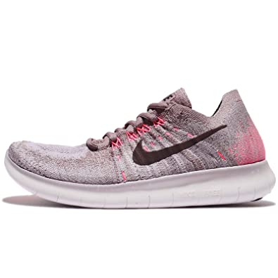 NIKE Women's Free RN Flyknit 2017 Running Shoe Taupe Grey/Port Wine-Solar  Red