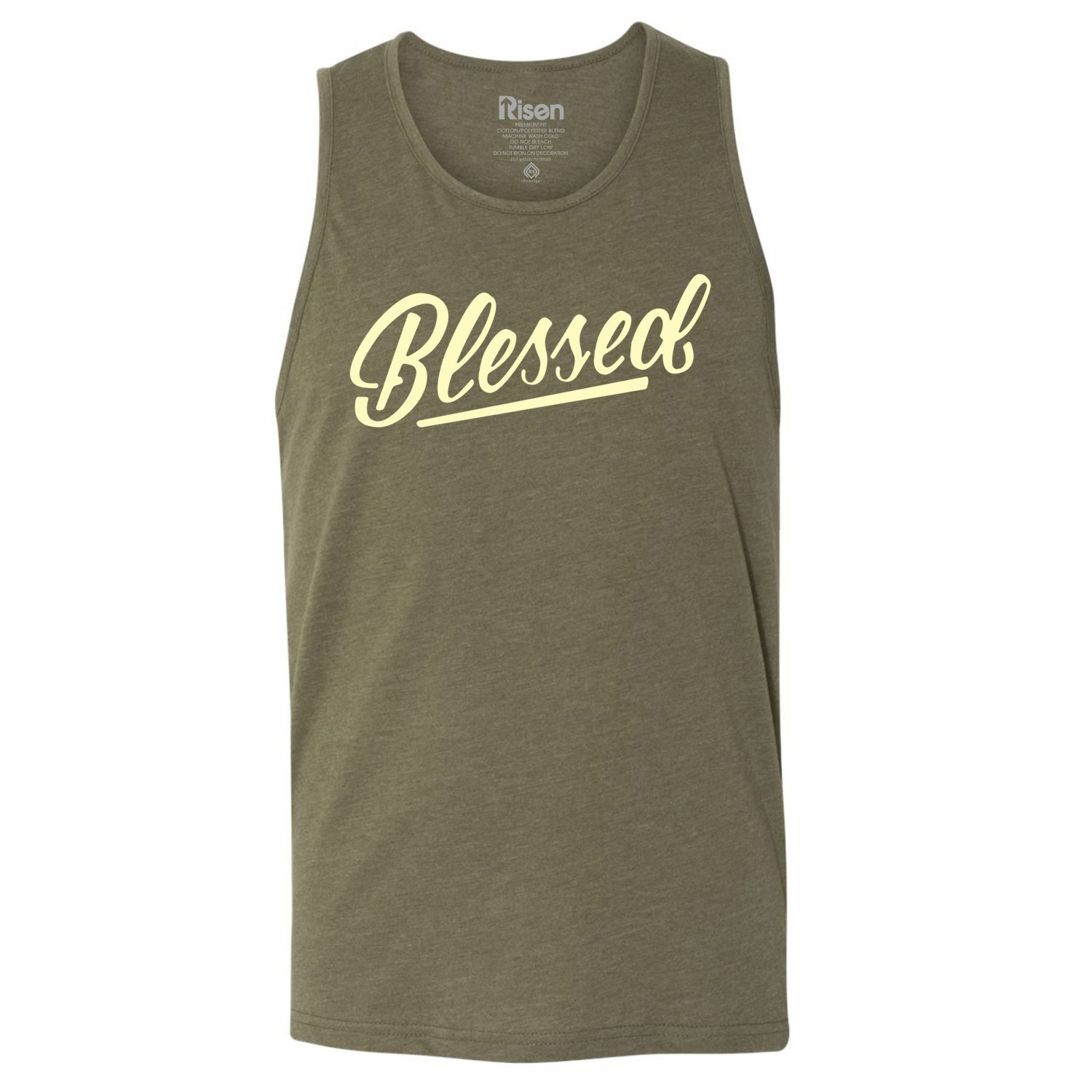 9e3892fc2b7d67 Amazon.com  Risen Apparel Blessed Christian Tank top Army camo by  Clothing