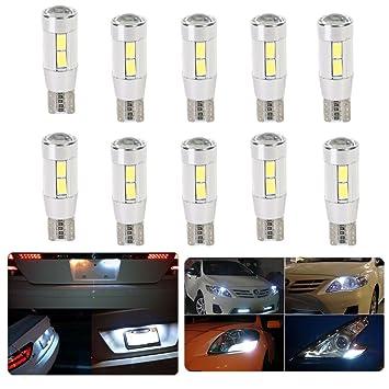 FEZZ Coche LED Bombillas T10 5630 10SMD 5W Canbus para Luces de Posición Laterales Luz de la placa del auto Blanco (Paquete de 10): Amazon.es: Coche y moto