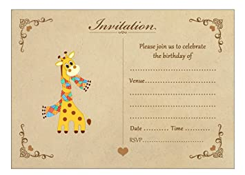 vintage giraffe birthday invitations with brown kraft envelopes