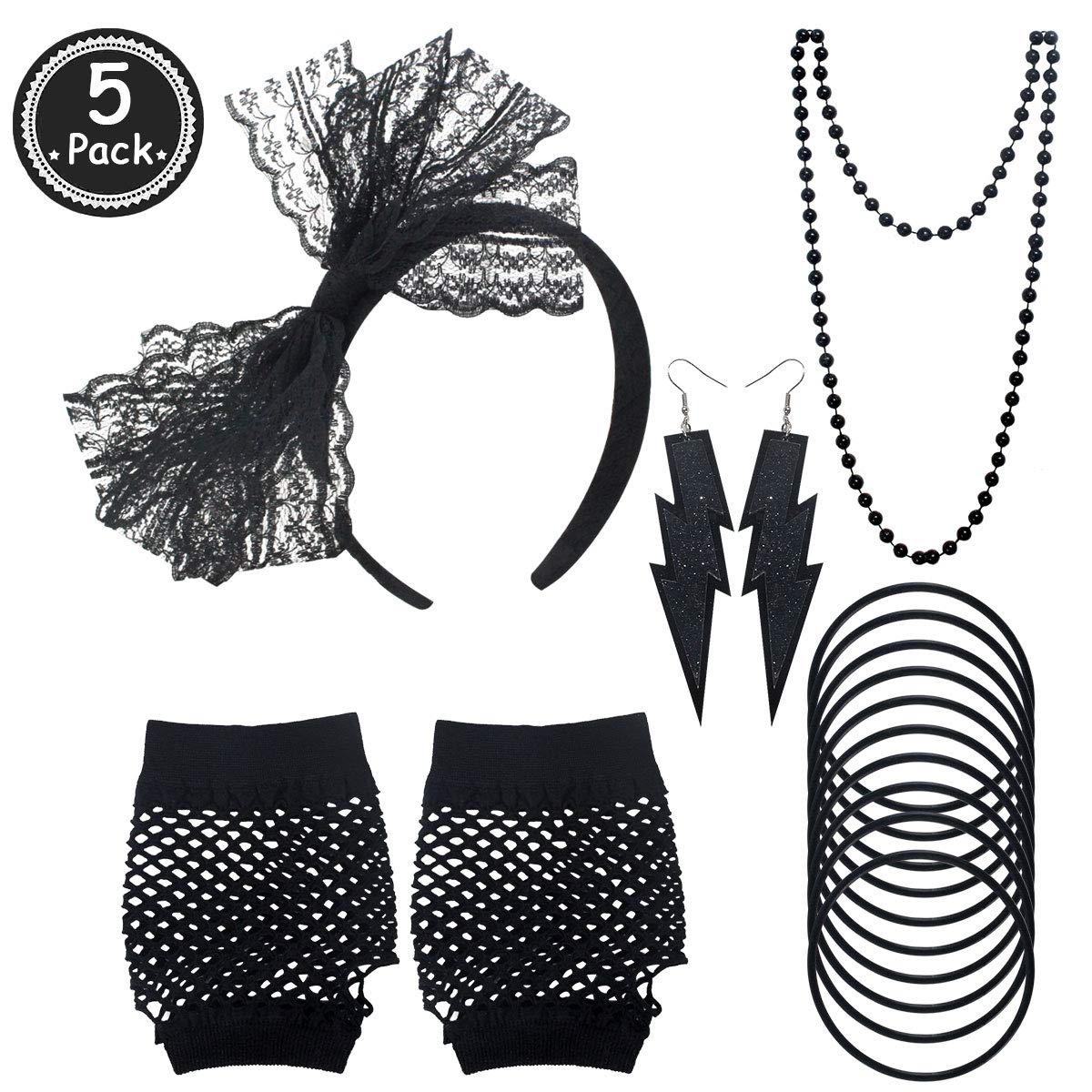 Women 80s Fancy Dress Outfit Costume Neon Earrings Lace Headband Fishnet Gloves For Ladies Night Out 80s Party 80s Accessories Set