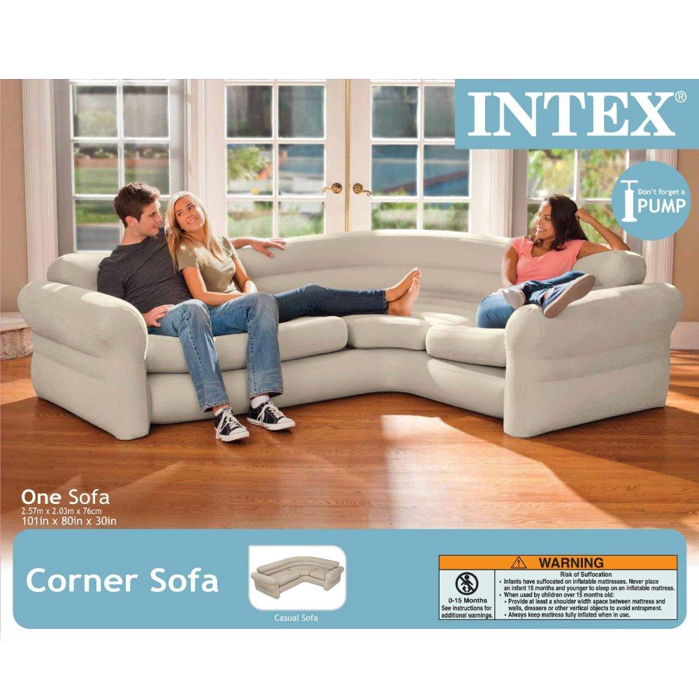 Amazon com intex inflatable corner sofa 101 x 80 x 30 sports outdoors