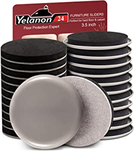 """Yelanon Furniture Sliders 24pcs - 3 1/2"""" Furniture Sliders for Hardwood Floors and Carpet Reusable Furniture Moving Pads Heavy Duty Felt Sliders, Protect All Floor Surfaces, Move Heavy Furniture Easy"""