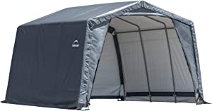 ShelterLogic Extra Tall 12' x 12' x 9.5' Shed-in-a-Box All-Season Steel Metal Peak Roof Outdoor Storage Shed, Grey