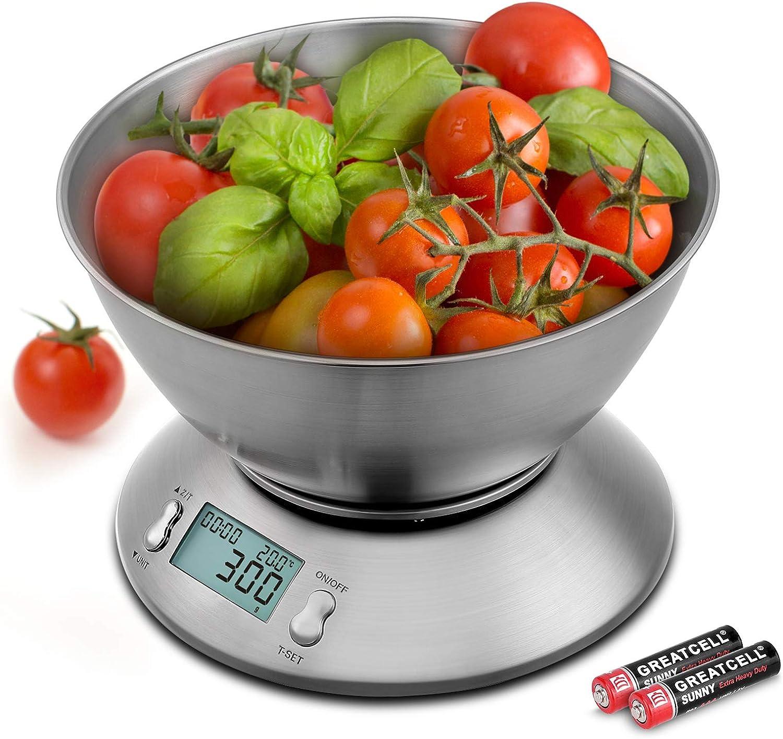 Uten Báscula Digital para Cocina,11 lbs / 5 kg, Acero Inoxidable, con Bol de Mezcla, Retroiluminación Blanca, Alarma y Sensor de Temperatura,Pantalla LCD Apagado Automático