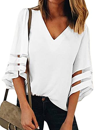 221cad8006c Image Unavailable. Image not available for. Color  Womens 3 4 Bell Sleeve V  Neck Lace Patchwork Blouse Casual Loose Shirt Tops (