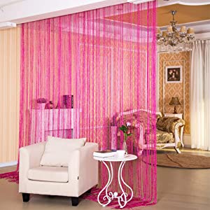 """Desirable Life Decorative Door String Curtains Wall Panel Tassels Blinds Room Divider for Wedding Party Restaurant Home (Rose Red, 39.4"""" x78.7"""")"""