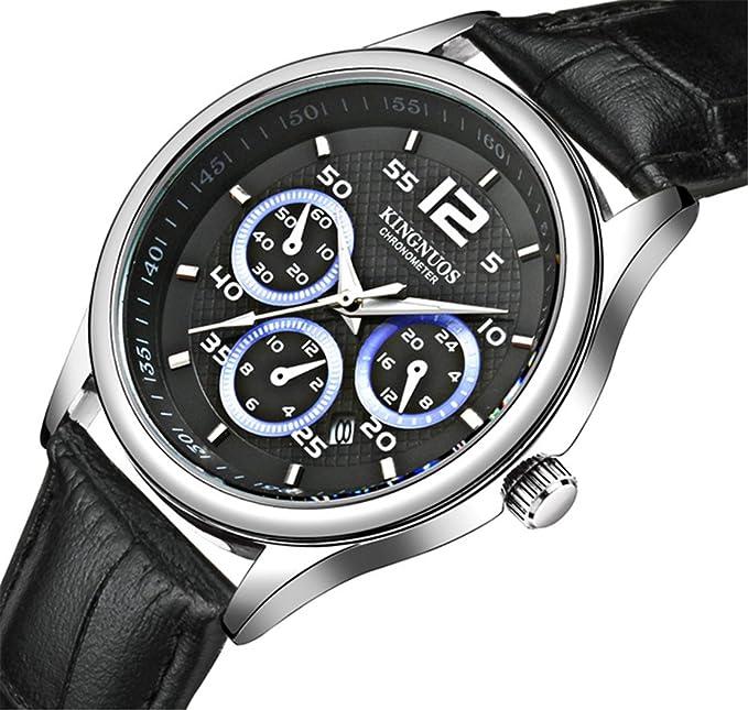 KINGNUOS Reloj analógico de cuarzo para hombre con correa de piel, color negro: Amazon.es: Relojes