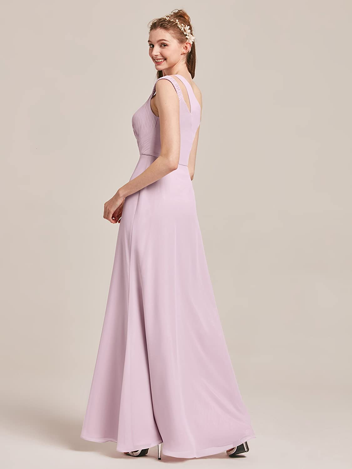 AWEI One Shoulder Bridesmaid Dress Long Prom Dress Sleeveless Maxi Dress for Wedding Party at Amazon Womens Clothing store: