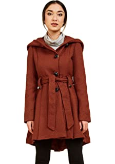 11d84bba21f3 Sportoli Womens Single Breasted Wool Blend Belted Winter Dress Drama Coat  with Hood