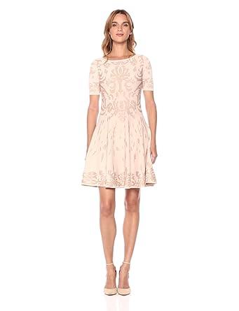 7f959b149c Ivanka Trump Women s Printed Short Sleeve Fit and Flare Sweater Dress