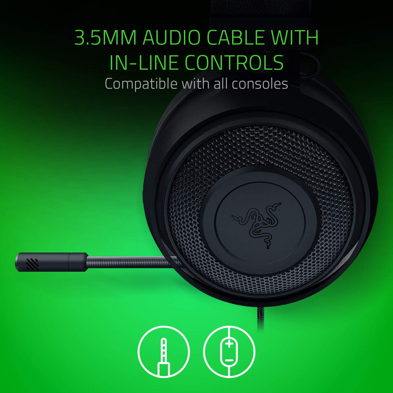 Gaming Headset with Cooling Gel Ear pads for Ambitious Gamers Razer Kraken Black