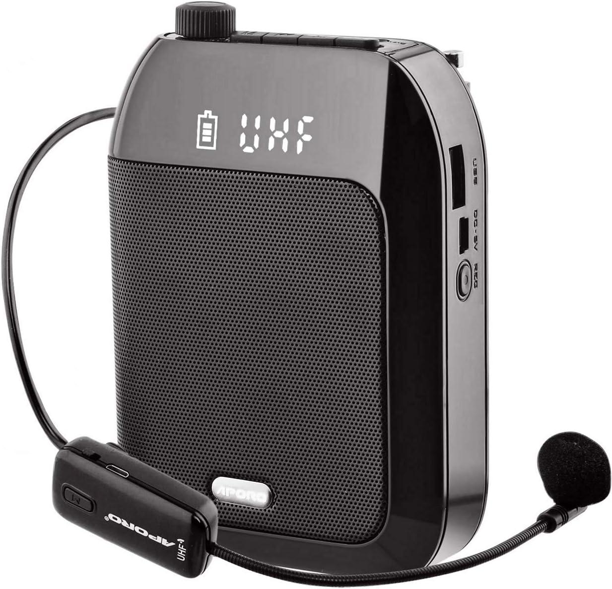 Amplificador de Voz, Sistema PA Recargable de 15 Vatios (2400 mAh) Con Micrófono Inalámbrico UHF para Profesores, Guía Turístico y más