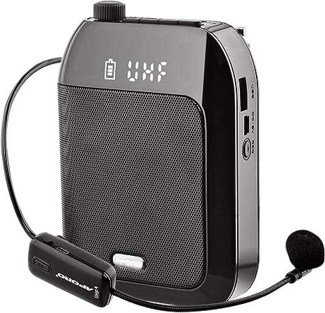Amplificador de Voz, Sistema PA Recargable de 15 Vatios (2400 mAh) Con Micrófono Inalámbrico UHF para Profesores, Guía Turístico y más: Amazon.es: Instrumentos musicales