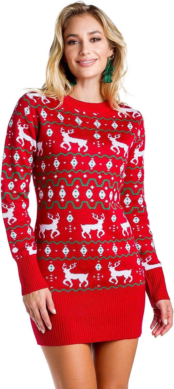Women's Red Christmas Sweater Dress - Reindeer Ugly Christmas Sweater Dress Female