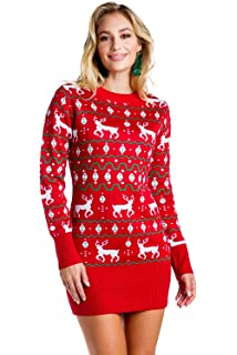 e990f1efdcf Women s Red Christmas Sweater Dress - Reindeer Ugly Christmas Sweater Dress  Female