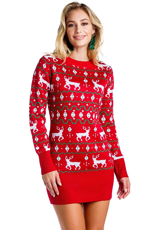 6e1664dfd71 Amazon.com  Women s Red Christmas Sweater Dress - Reindeer Ugly Christmas  Sweater Dress Female  Clothing