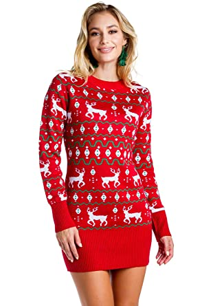 9f7b82b599c7 Women's Red Christmas Sweater Dress - Reindeer Ugly Christmas Sweater Dress  Female: X-Small