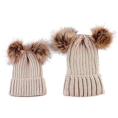 9fe7f1b20ddc Tpulling Bonnet Bebe, 2pcs Maman bébé Tricot Pom Bobble Hat Chapeau Hiver  Chaud Bonnet (