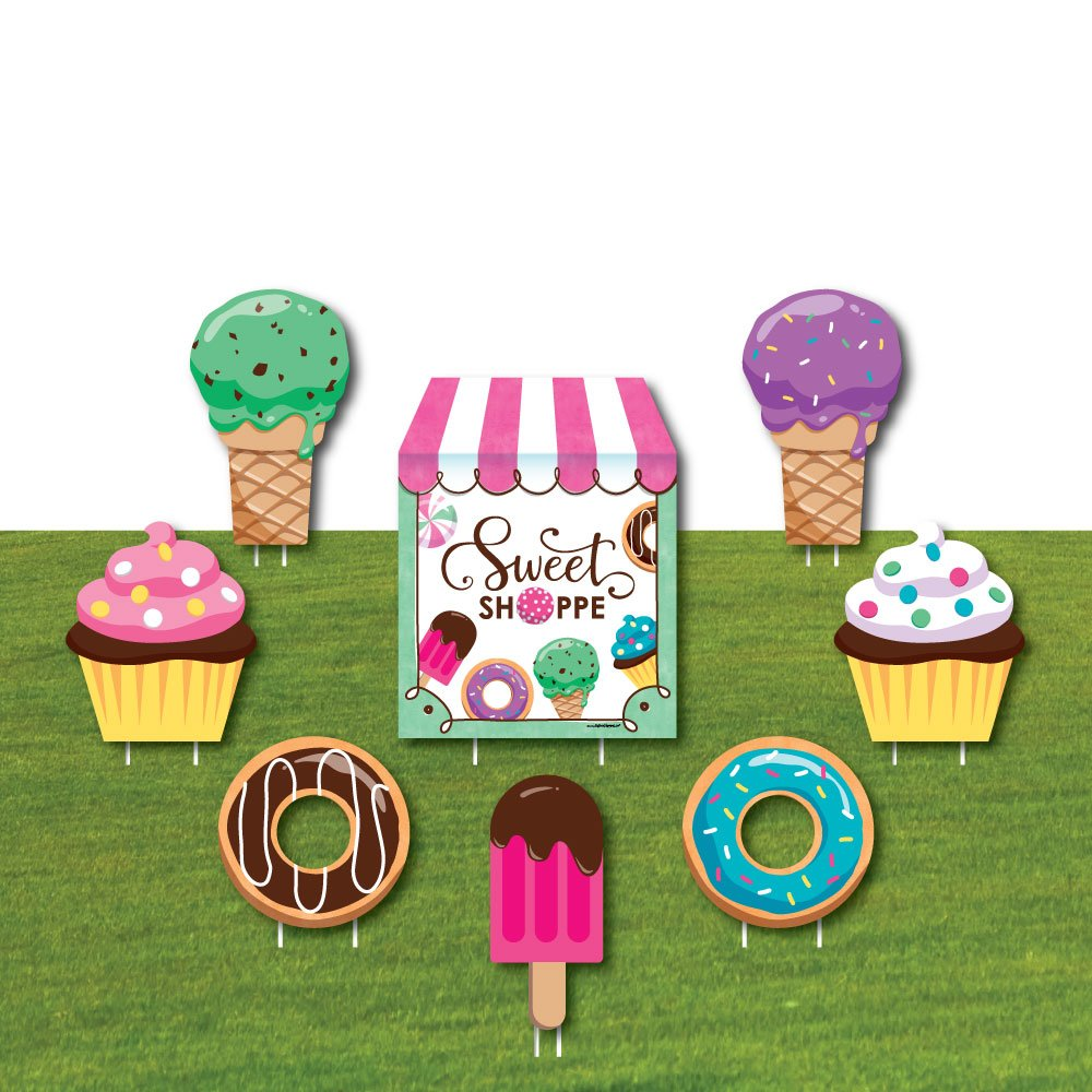 Sweet Shoppe - Yard Sign & Outdoor Lawn Decorations - Candy and Bakery Birthday Party or Baby Shower Yard Signs - Set of 8