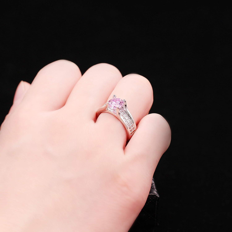 Amazon.com: Uloveido Women\'s Pink Cubic Zirconia Silver Plated ...
