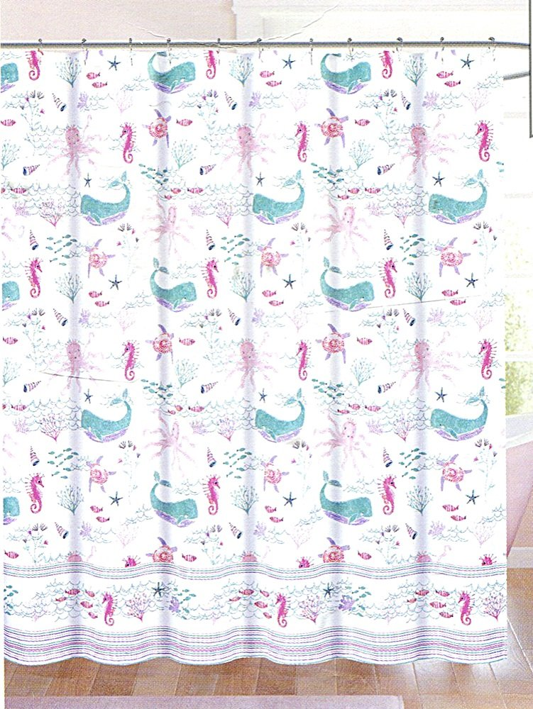 Authentic Kids Whale and Sea Life Shower Curtain