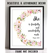 She Is Fearfully & Wonderfully Made - Psalm 139:14- Bible Verse Wall Art- 8x10 - Floral Scripture Wall Print-Ready to Frame. Home Décor-Office Décor-Christian Gifts. Let Her Know How You Feel!