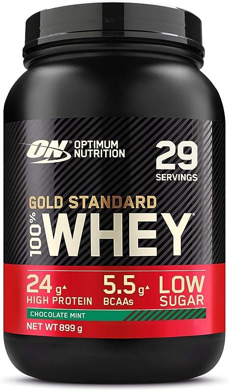 Optimum Nutrition Gold Standard 100% Whey Proteína en Polvo, Glutamina y Aminoácidos Naturales, BCAA, Chocolate y Menta, 29 Porciones, 899 g, Embalaje ...