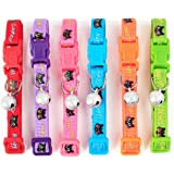 """CatYou 6PCS Pet Cat Puppy Breakaway Collars with Small Jingle Bells for Cats Baby Puppies Dogs Small Animals, 7.8"""" to 13"""" Adjustable"""