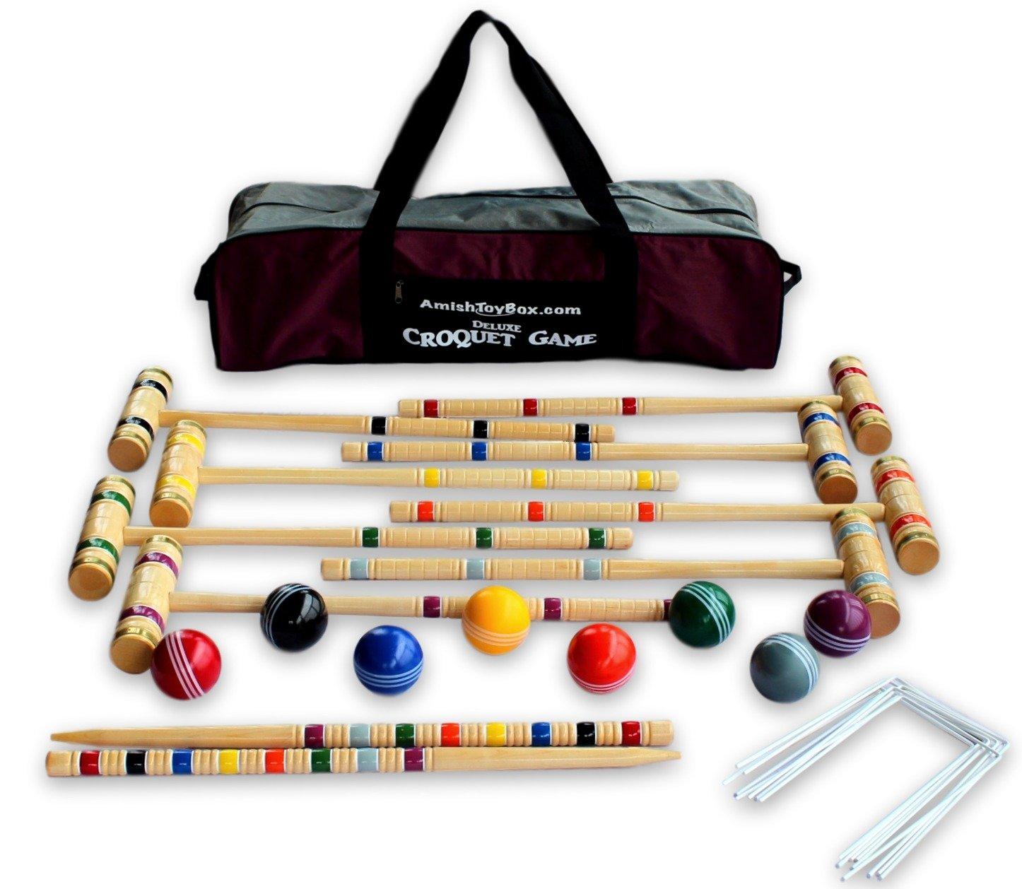 8-Player Deluxe Amish Crafted Croquet Game Set with Carry Bag (29'' Mallet Length) by AmishToyBox.com