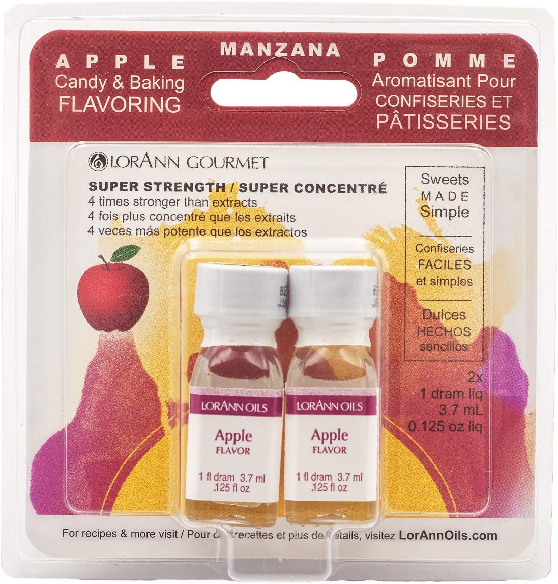 LorAnn Apple Super StrengthFlavor, 1 dram bottle (.0125 fl oz - 3.7ml) Twin pack blistered