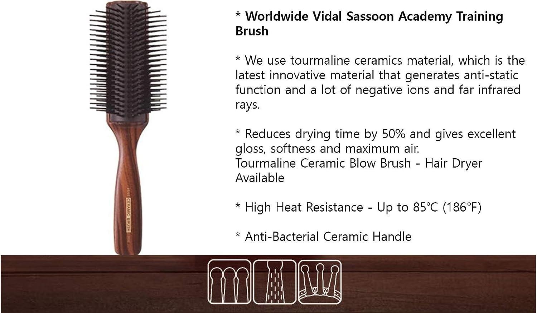 Vess C-2000 Professional Hair Brush Tourmaline Ceramic 9 Row Round Tip  Curved Pad Anti-static Natural