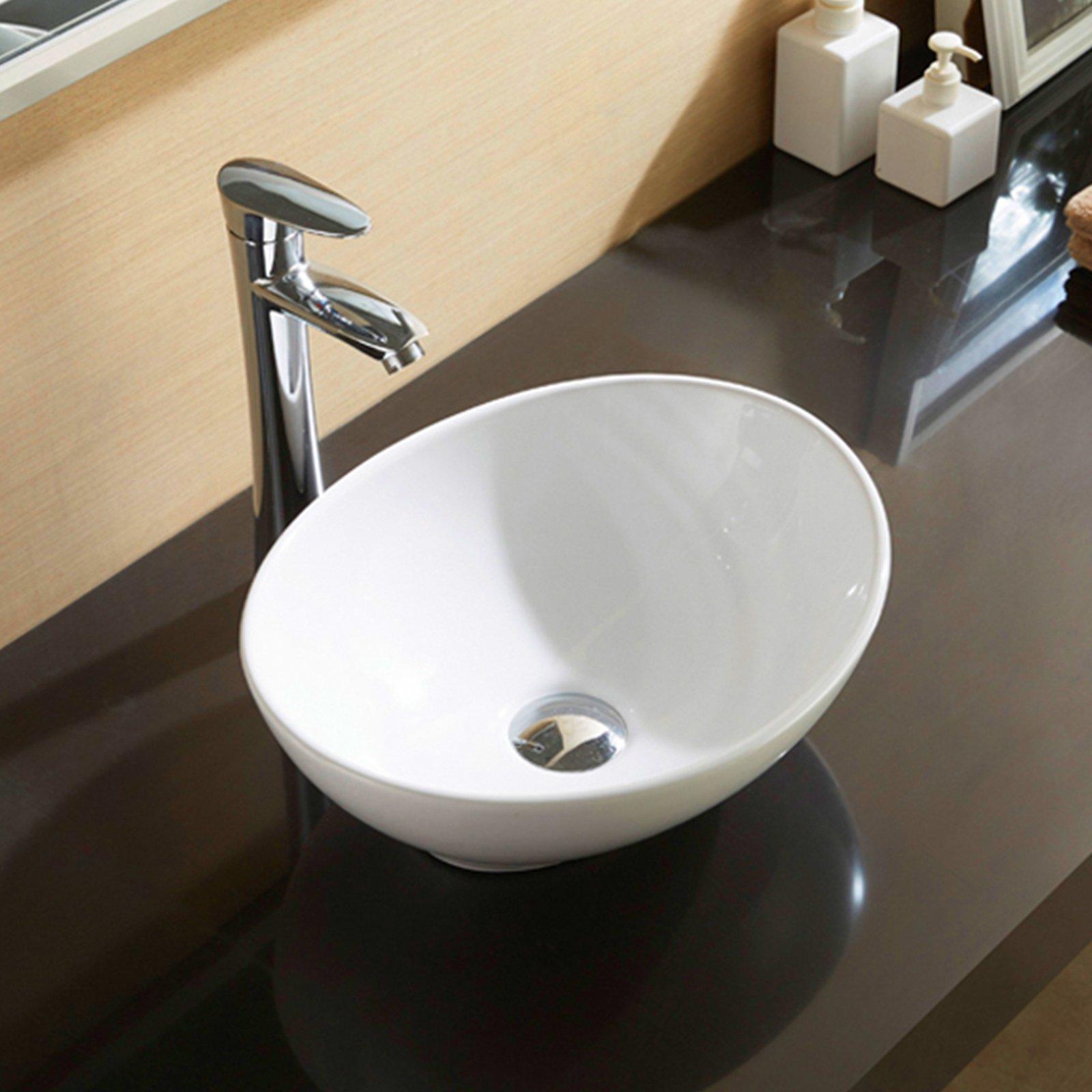 WaaGee Oval Bathroom Vessel Sink Vanity Basin White Porcelain Ceramic Bowl by WaaGee