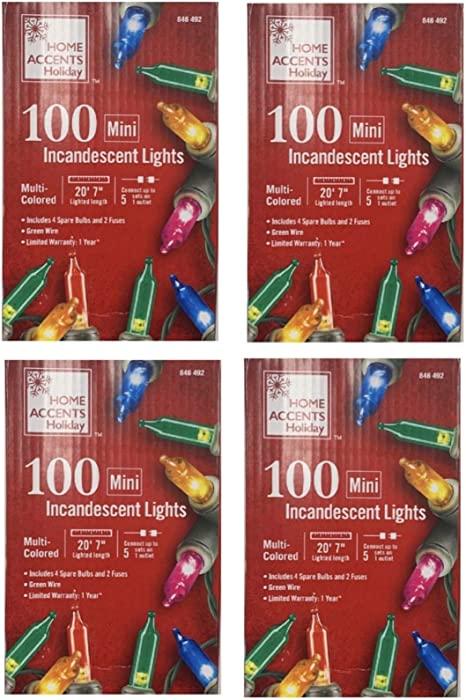 Home Accents Holiday 20 ft. 100-Lights String-to-String Incandescent Lights Mini Bulb Multi Color (4 Pack)