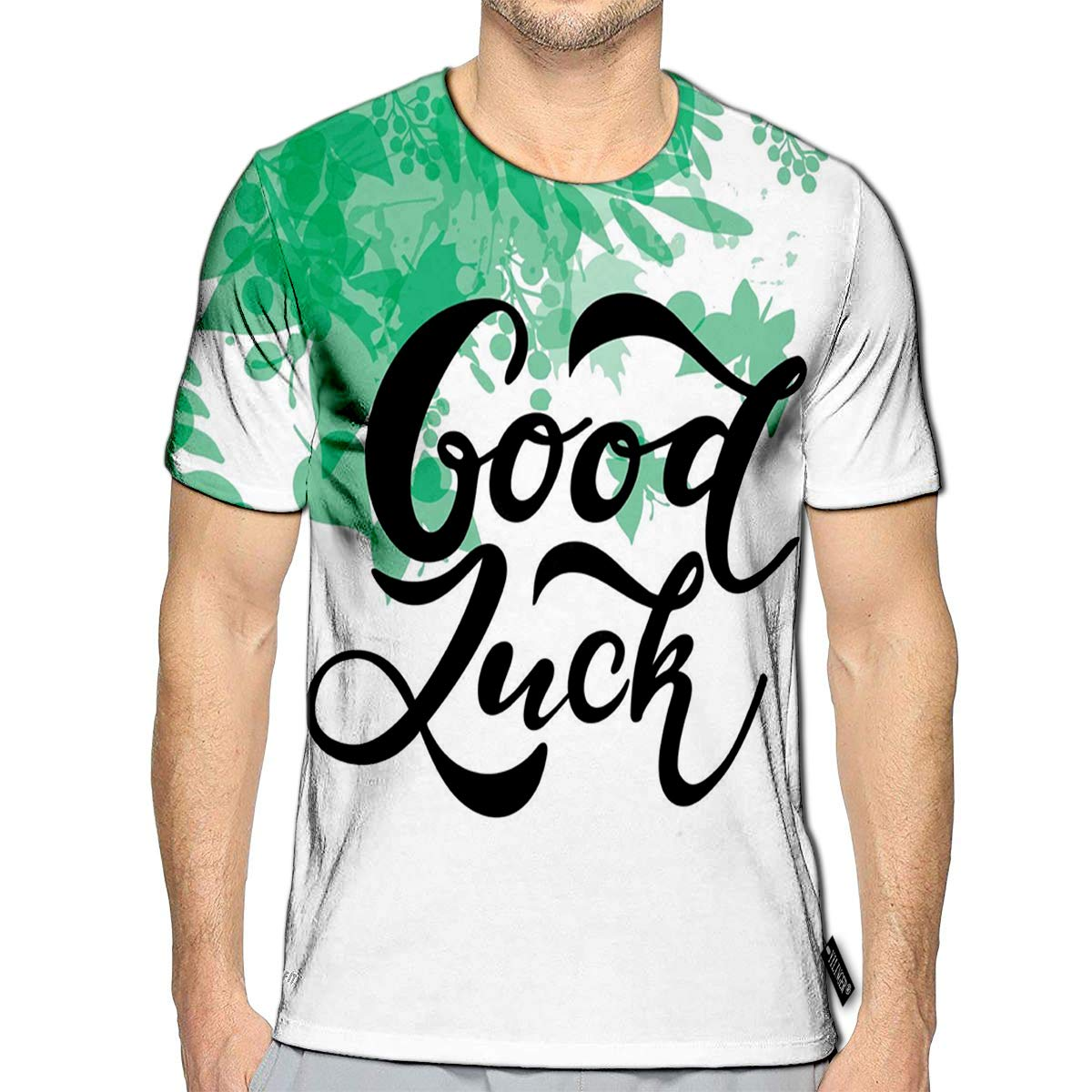 3D Printed T-Shirts Hand Sketched Good Luck Drawn Short Sleeve Tops Tees