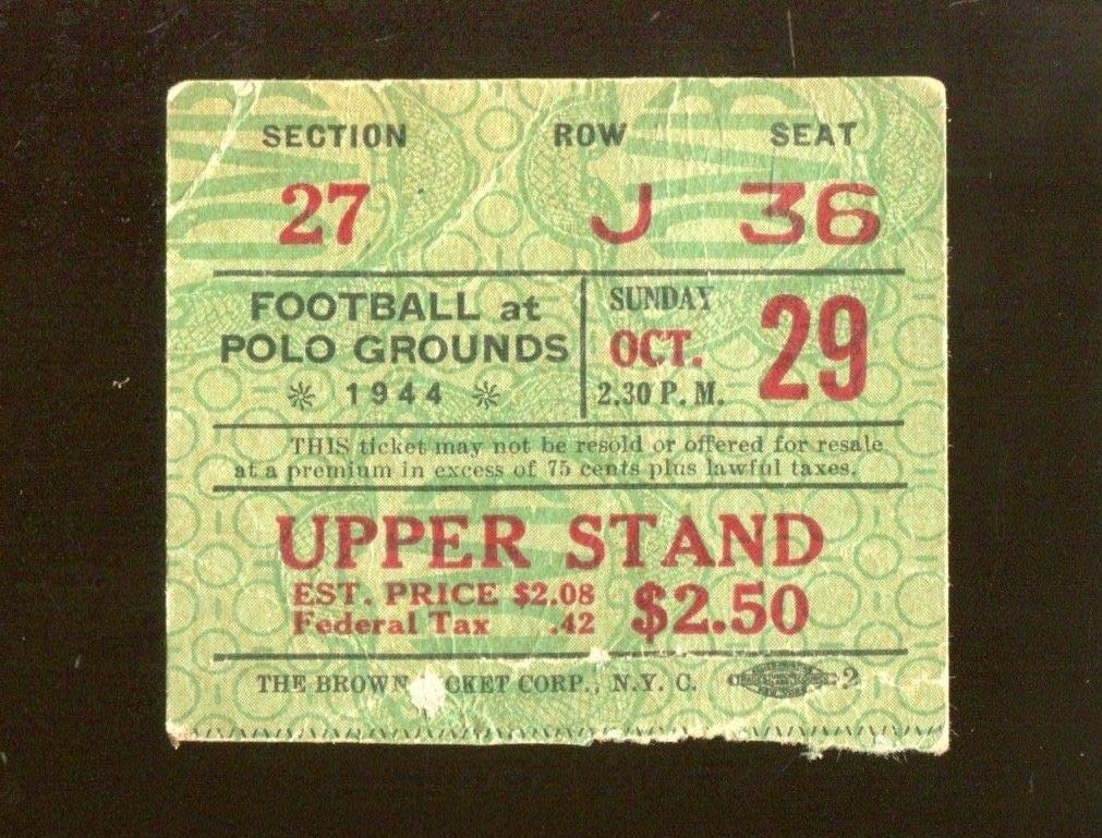1944 Philadelphia Eagles v New York Giants Ticket 10/29 Polo Grounds 44796