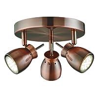 Searchlight Jupiter LED 3 Spot PLate Ceiling Light (copper, 8813CU, low energy)