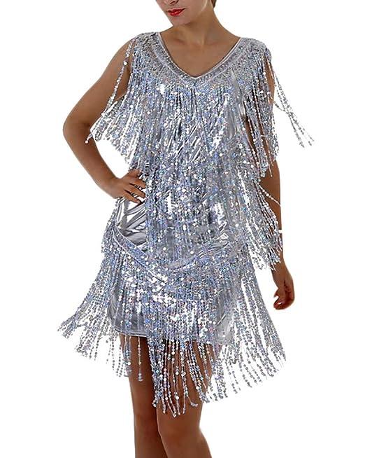Battercake Vestidos Mujer Vestidos De Fiesta Cortos De Noche Elegantes Lentejuelas Tassel Casuales Mujeres Vestido Coctel Moda Sin Mangas V Cuello Slim Fit ...