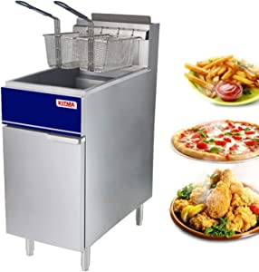 Commercial Deep Fryer - 50 lb Natural Gas 4 Tube Floor Fryer with 2 Free Fryer Baskets and Oil-Drain - Fryer Strainer Restaurant Equipment for French Fries Fried Chicken 120,000 BTU/h17.7
