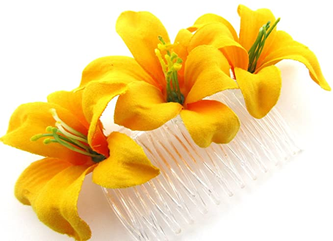 Amazon triple 2 yellow lily silk flower hair comb clothing triple 2quot yellow lily silk flower hair comb mightylinksfo