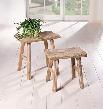 Badhocker holz  Holz-Hocker Rustikal, 2er Set: Amazon.de: Küche & Haushalt